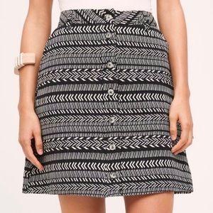 Maeve Black and white mini skirt button closure